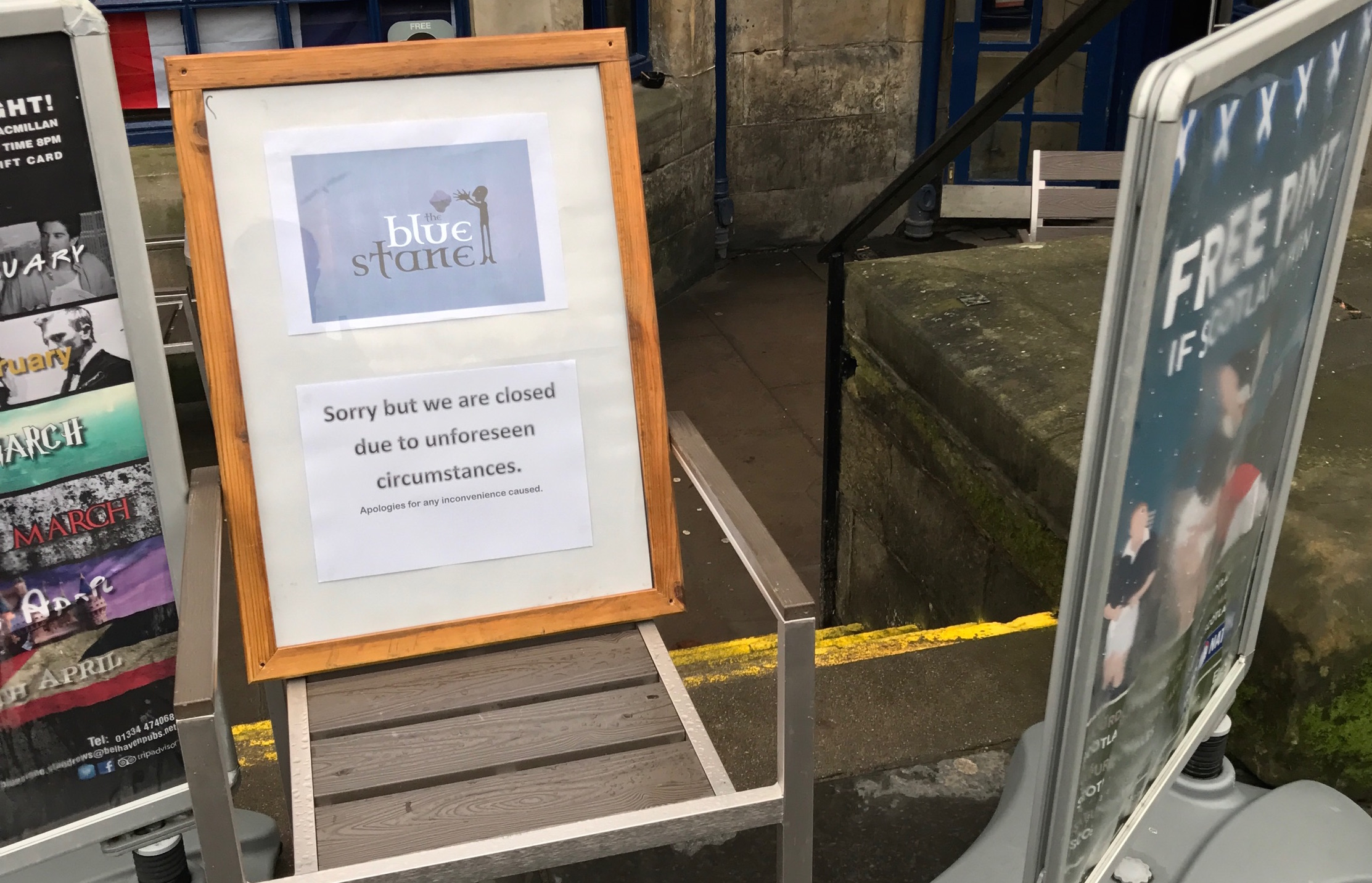 The Blue Stane Temporarily Shut